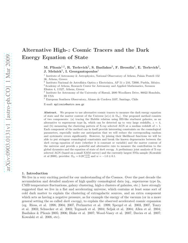 M. Plionis - Alternative High-z Cosmic Tracers and the Dark Energy Equation of State