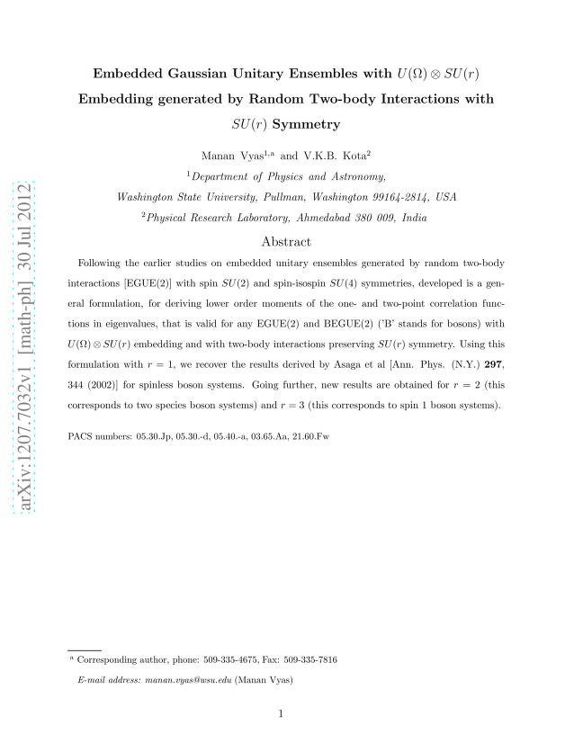 Manan Vyas - Embedded Gaussian Unitary Ensembles with $U(Ω) \otimes SU(r)$ Embedding generated by Random Two-body Interactions with $SU(r)$ Symmetry