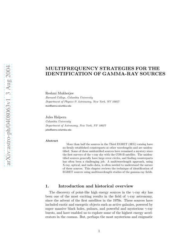R. Mukherjee - Multifrequency Strategies for the Identification of Gamma-Ray Sources