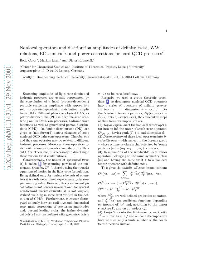 Bodo Geyer - Nonlocal operators and distribution amplitudes of definite twist, WW-like relations, BC-like sum rules and power corrections for hard QCD processes