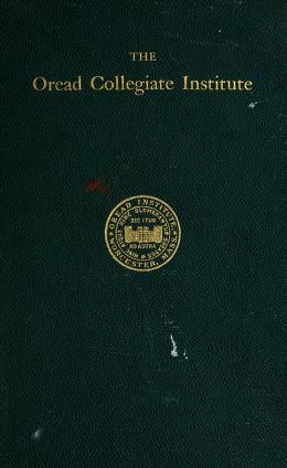 Cover of: History of the Oread Collegiate Institute, Worcester, Mass. (1849-1881) | Martha Burt Wright